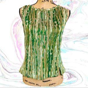ST. JOHN silk green tank top blouse